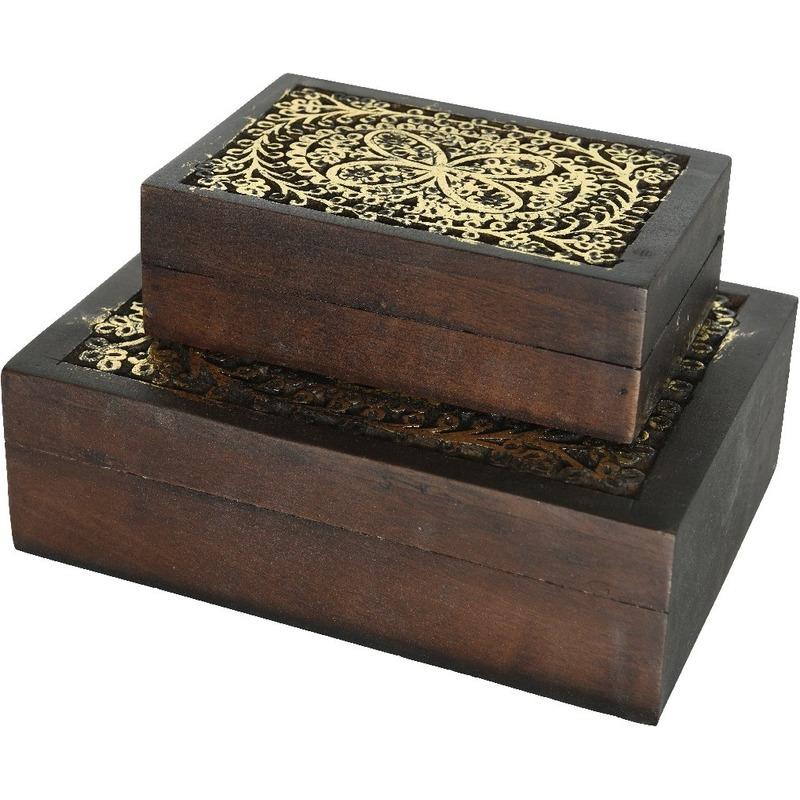 2x sieradenkistjes juwelendoosjes set bruin goud