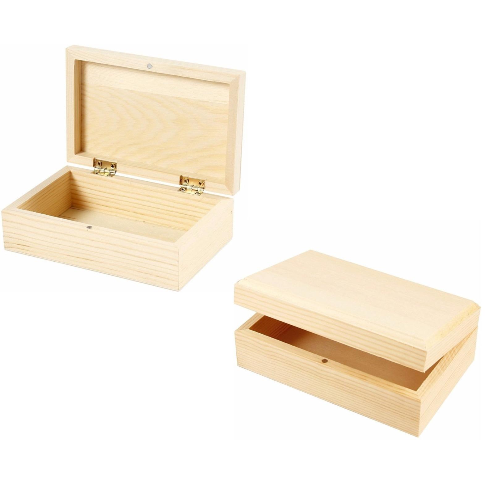 2x stuks houten sieradendoosjes 14 x 9 x 5 cm
