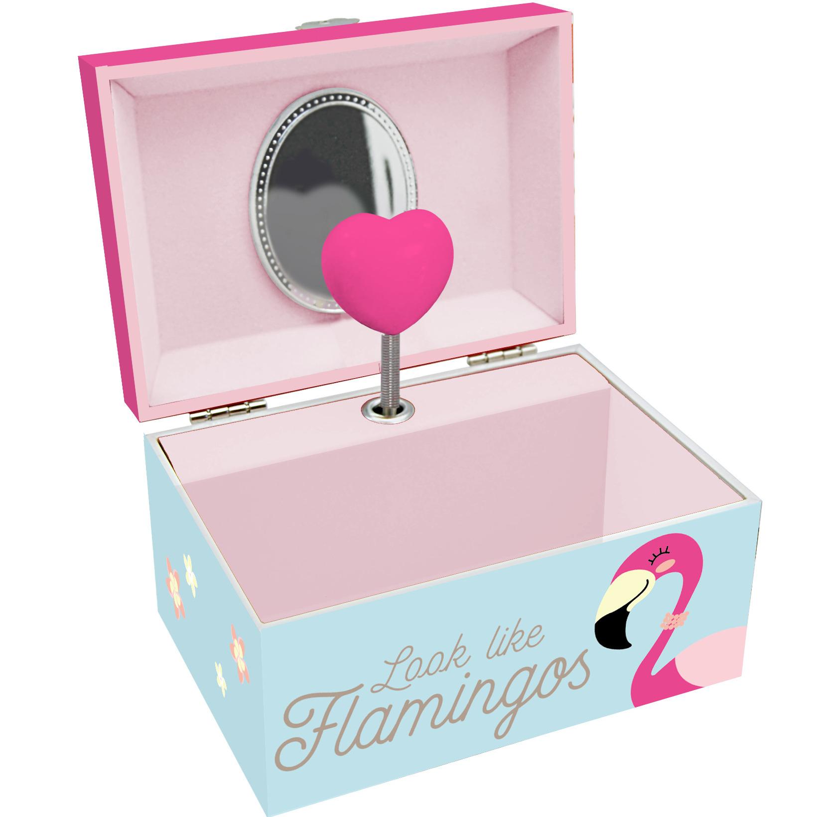 Muziekdoos sieradendoos met flamingos en hartje voor meisjes